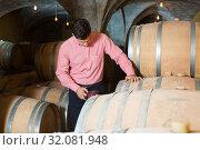 Купить «Man posing in winery cellar», фото № 32081948, снято 21 сентября 2016 г. (c) Яков Филимонов / Фотобанк Лори