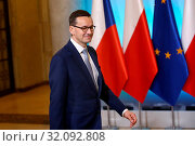 Warsaw, Poland 15.10 2018 Czech Republic PM visiting Poland. Pictured: Prime Minister of Poland Mateusz Morawiecki. Редакционное фото, фотограф Kleta / age Fotostock / Фотобанк Лори