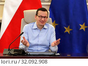 Warsaw, Poland 01.02.2019 Pictured: Prime Minister of Poland Mateusz Morawiecki met children and teenagers during winter holidays. Редакционное фото, фотограф Kleta / age Fotostock / Фотобанк Лори
