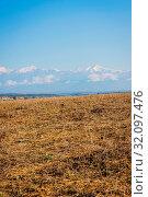 Купить «River, green meadow, golden fields and mountains with snow peaks, amazing landscapes of Azerbaijan», фото № 32097476, снято 28 мая 2020 г. (c) age Fotostock / Фотобанк Лори