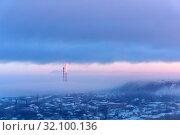 Купить «Evening landscape of a winter industrial zone with smoking chimneys», фото № 32100136, снято 5 марта 2019 г. (c) Евгений Харитонов / Фотобанк Лори
