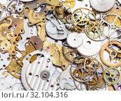 Купить «Watchmaker workshop - many old watch spare parts close up», фото № 32104316, снято 29 января 2020 г. (c) easy Fotostock / Фотобанк Лори