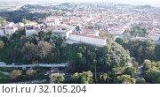 Купить «Aerial view of Santarem district with buildings and landscape, Portugal», видеоролик № 32105204, снято 21 апреля 2019 г. (c) Яков Филимонов / Фотобанк Лори