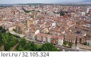 Купить «Aerial view of Logrono city with buildings and lanscape, Spain», видеоролик № 32105324, снято 13 июля 2019 г. (c) Яков Филимонов / Фотобанк Лори