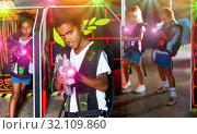 Portrait of mulatto tweenager boy with laser gun having fun on d. Стоковое фото, фотограф Яков Филимонов / Фотобанк Лори