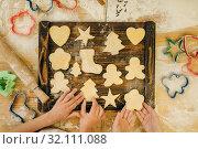 Купить «Little girls chefs spread out cookies on board», фото № 32111088, снято 30 марта 2019 г. (c) Tryapitsyn Sergiy / Фотобанк Лори