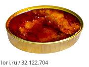 Купить «Pickled cod in tomato sauce in open tin can, nobody», фото № 32122704, снято 17 сентября 2019 г. (c) Яков Филимонов / Фотобанк Лори
