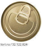 Купить «Close-up of metal bronze tin can with ring pull on white background», фото № 32122824, снято 3 июня 2020 г. (c) Яков Филимонов / Фотобанк Лори