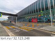 Купить «Simferopol, Crimea -June 26. 2019 Exterior of the new airport building», фото № 32123248, снято 11 июля 2019 г. (c) Володина Ольга / Фотобанк Лори