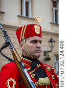 Купить «The Changing of the Guard, Croatian soldiers in historical regalia in ceremonial parade at St Mark's Square, Zagreb, Croatia.», фото № 32124408, снято 3 августа 2019 г. (c) age Fotostock / Фотобанк Лори