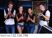Купить «girls and guys with laser guns», фото № 32126748, снято 27 августа 2018 г. (c) Яков Филимонов / Фотобанк Лори