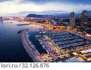 Купить «Barcelona seashore in night», фото № 32126876, снято 28 августа 2018 г. (c) Яков Филимонов / Фотобанк Лори