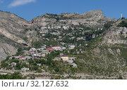 Купить «Вид на горное село Гуниб в Дагестане», фото № 32127632, снято 13 августа 2019 г. (c) Максим Гулячик / Фотобанк Лори