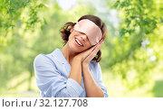 Купить «happy young woman in pajama and eye sleeping mask», фото № 32127708, снято 6 марта 2019 г. (c) Syda Productions / Фотобанк Лори