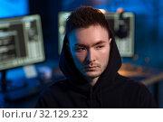 Купить «asian hacker in dark room with computers at night», фото № 32129232, снято 27 марта 2019 г. (c) Syda Productions / Фотобанк Лори