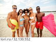 Купить «happy friends taking selfie on summer beach», фото № 32130552, снято 29 июля 2018 г. (c) Syda Productions / Фотобанк Лори