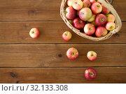 Купить «ripe apples in wicker basket on wooden table», фото № 32133308, снято 24 августа 2018 г. (c) Syda Productions / Фотобанк Лори