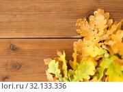 Купить «oak leaves in autumn colors on wooden table», фото № 32133336, снято 13 сентября 2018 г. (c) Syda Productions / Фотобанк Лори