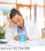 Купить «tired businesswoman with alarm clock at office», фото № 32134300, снято 1 августа 2013 г. (c) Syda Productions / Фотобанк Лори