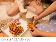 Купить «women drinking hot chocolate and eating waffles», фото № 32135756, снято 21 января 2018 г. (c) Syda Productions / Фотобанк Лори