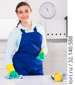 Купить «Happy housekeeper is cleaning dust from the desk», фото № 32140588, снято 21 мая 2017 г. (c) Яков Филимонов / Фотобанк Лори