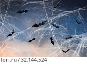 Купить «black bats over starry night sky and spiderweb», фото № 32144524, снято 6 июля 2017 г. (c) Syda Productions / Фотобанк Лори