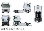 Купить «Vector semi-truck template isolated on white», иллюстрация № 32145164 (c) Александр Володин / Фотобанк Лори
