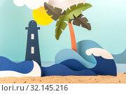 Купить «Installation of paper on the marine theme.», фото № 32145216, снято 11 июня 2019 г. (c) Olesya Tseytlin / Фотобанк Лори