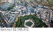 Купить «Aerial view of famous Citadel of Jaca on background of cityscape in sunny autumn day, Spain», видеоролик № 32145312, снято 23 декабря 2018 г. (c) Яков Филимонов / Фотобанк Лори