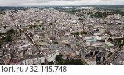 Купить «Aerial panoramic view of Lugo galician city with buildings and landscape», видеоролик № 32145748, снято 19 июня 2019 г. (c) Яков Филимонов / Фотобанк Лори