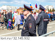 Купить «Russian policemans in uniform watching the rule of law», фото № 32145932, снято 1 мая 2019 г. (c) FotograFF / Фотобанк Лори