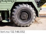 Купить «View of heavy truck army vehicle (S-300 ) wheel», фото № 32146032, снято 4 мая 2019 г. (c) FotograFF / Фотобанк Лори