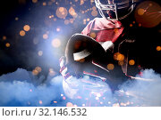Купить «Composite image of american football player», фото № 32146532, снято 15 сентября 2019 г. (c) Wavebreak Media / Фотобанк Лори