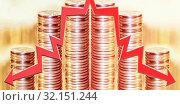 Купить «Красные  стрелки на фоне денег . Концепция изменения рынков .», фото № 32151244, снято 17 сентября 2019 г. (c) Сергеев Валерий / Фотобанк Лори