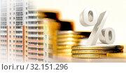 Купить «Символ процента на фоне денег и строительства», фото № 32151296, снято 1 января 2020 г. (c) Сергеев Валерий / Фотобанк Лори
