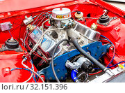 Купить «Tuned turbo car engine of Chevrolet Camaro vehicle», фото № 32151396, снято 19 мая 2018 г. (c) FotograFF / Фотобанк Лори