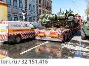 Купить «Transportation of heavy army tank T-72B3», фото № 32151416, снято 4 мая 2019 г. (c) FotograFF / Фотобанк Лори