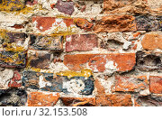 Купить «Grunge red brick wall as background texture», фото № 32153508, снято 6 августа 2017 г. (c) FotograFF / Фотобанк Лори