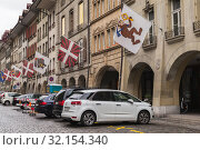 Kramgasse or Grocers Alley, Bern (2017 год). Редакционное фото, фотограф EugeneSergeev / Фотобанк Лори