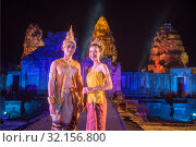 The sound and light show at the Khmer Temple Ruins at the Phimai Festival in Phimai in the Provinz Nakhon Ratchasima in Isan in Thailand. Thailand, Phimai, November, 2017. Стоковое фото, фотограф Zoonar.com/URS FLUEELER / age Fotostock / Фотобанк Лори