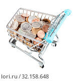 Купить «Bascart with US coins isolated on white background», фото № 32158648, снято 29 января 2020 г. (c) easy Fotostock / Фотобанк Лори