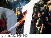 Купить «September 11, 2019 - Manifestation against the catalan politicians in fron of the Catalonia Parliament in Barcelona.», фото № 32169140, снято 11 сентября 2019 г. (c) age Fotostock / Фотобанк Лори