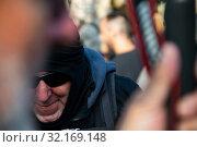 Купить «September 11, 2019 - Manifestation against the catalan politicians in fron of the Catalonia Parliament in Barcelona.», фото № 32169148, снято 11 сентября 2019 г. (c) age Fotostock / Фотобанк Лори