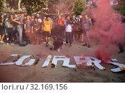 Купить «September 11, 2019 - Manifestation against the catalan politicians in fron of the Catalonia Parliament in Barcelona.», фото № 32169156, снято 11 сентября 2019 г. (c) age Fotostock / Фотобанк Лори