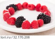 Купить «raspberries and blackberries laid out on a white plate in circle», фото № 32170208, снято 2 июня 2019 г. (c) Татьяна Яцевич / Фотобанк Лори