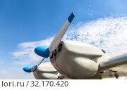 Купить «Airplane engine and propeller», фото № 32170420, снято 13 апреля 2019 г. (c) FotograFF / Фотобанк Лори