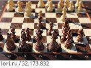 Купить «Chess Board with pieces during the match», фото № 32173832, снято 7 сентября 2019 г. (c) Григорий Писоцкий / Фотобанк Лори