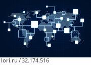 network and world map over dark blue background. Стоковое фото, фотограф Syda Productions / Фотобанк Лори