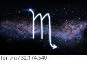 scorpio zodiac sign over night sky and galaxy. Стоковое фото, фотограф Syda Productions / Фотобанк Лори