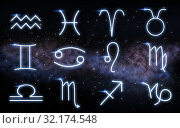 Купить «set of zodiac signs over night sky and galaxy», фото № 32174548, снято 28 апреля 2020 г. (c) Syda Productions / Фотобанк Лори